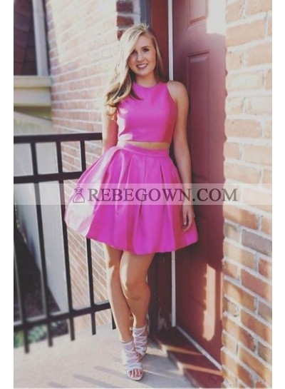 Two Piece Jewel Open Back Short Pink Homecoming Dress 2020 with Ruched