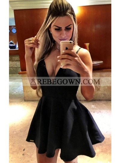 Princess/A-Line Deep V-Neck Satin Little Black Dresses