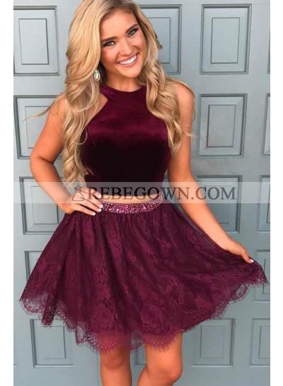 Princess/A-Line Burgundy Two Pieces Lace Short Prom Dresses
