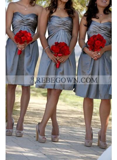 2020 Cheap A Line Taffeta Silver Sweetheart Ruffles Short Bridesmaid Dresses / Gowns
