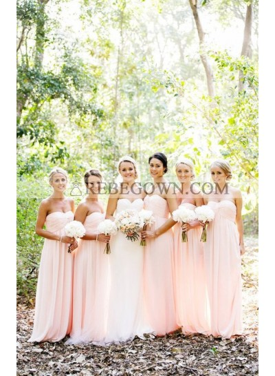 2020 Cheap A Line Chiffon Pink Sweetheart Long Bridesmaid Dresses / Gowns