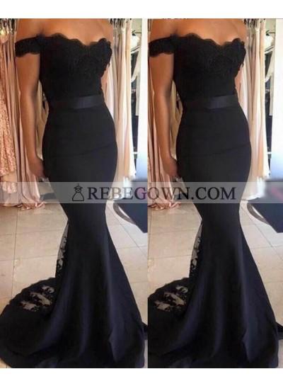 2021 Junoesque Black Lace Off-the-Shoulder Mermaid Satin Prom Dresses