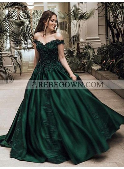 2020 Classic Satin Dark Green Off Shoulder Sweetheart Ball Gown Prom Dress