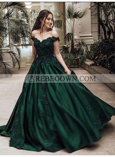 2021 Classic Satin Dark Green Off Shoulder Sweetheart Ball Gown Prom Dress