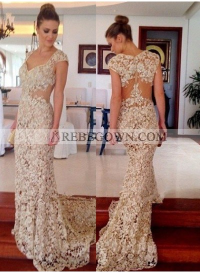 Court Train Mermaid Lace Prom Dresses