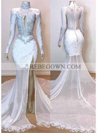 2021 White Long Sleeve High Neck Lace and Tulle Side Slit Mermaid  Prom Dresses