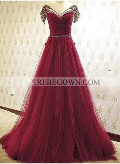 Burgundy Beading V-Neck A-Line Tulle Prom Dresses