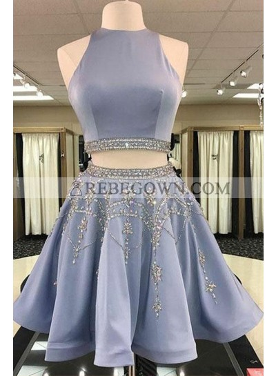Princess/A-Line Knee Length Two Pieces Satin Prom Dresses