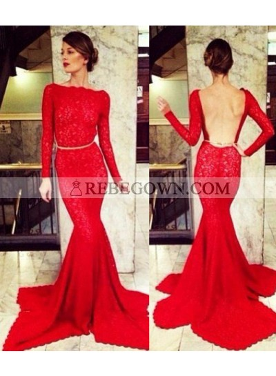 2021 Gorgeous Red Bateau Neck Long Sleeve Mermaid Lace Prom Dresses
