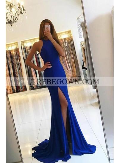2020 Sexy Royal Blue Satin Side Slit Prom Dresses