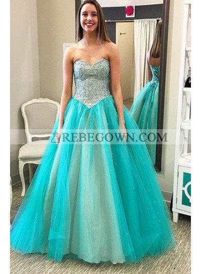 rebe gown 2021 Blue Prom Dresses Sweetheart Beading A-Line Tulle