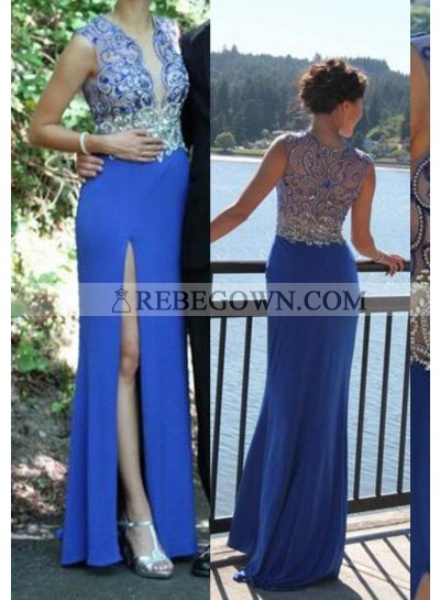 rebe gown 2020 Blue Beading High-Slit Chiffon Prom Dresses