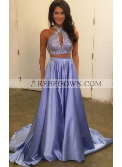 2020 Siren Princess/A-Line Satin Two Pieces Blue Prom Dresses
