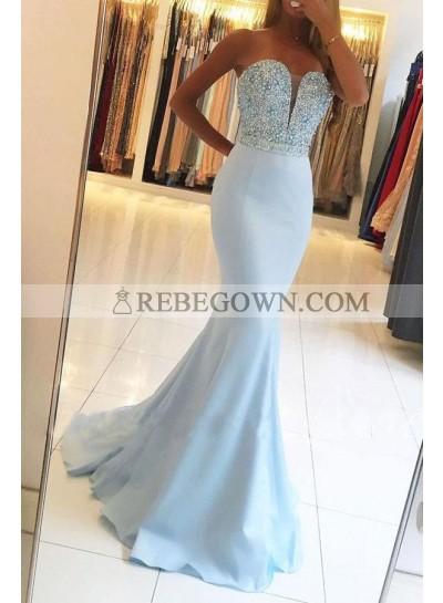 2021 Sexy Light Sky Blue Mermaid Sweetheart Beaded Satin Prom Dresses