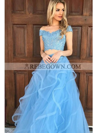 2021 Siren Princess/A-Line Two Pieces Tulle Prom Dresses