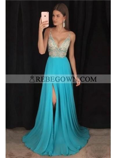 2021 Cheap Princess/A-Line Chiffon Sweetheart Side Slit Prom Dresses