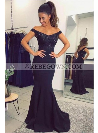 Black Mermaid Sweetheart Satin Prom Dresses