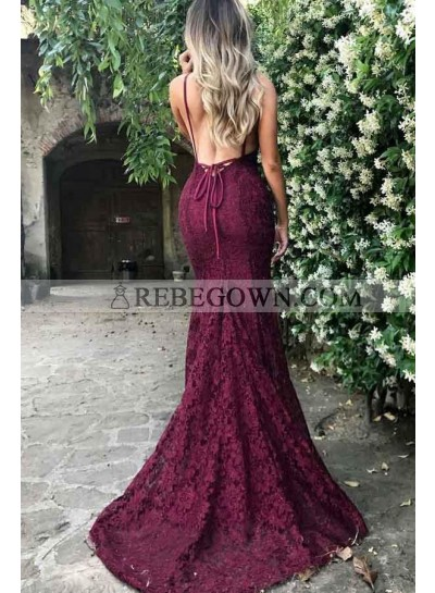 2021 Sexy Burgundy Lace V Backless Prom Dresses