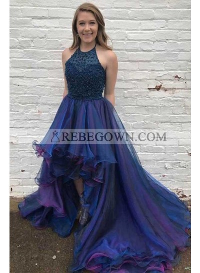 Designer Princess/A-Line Navy Blue Asymmetric Short Prom Dresses