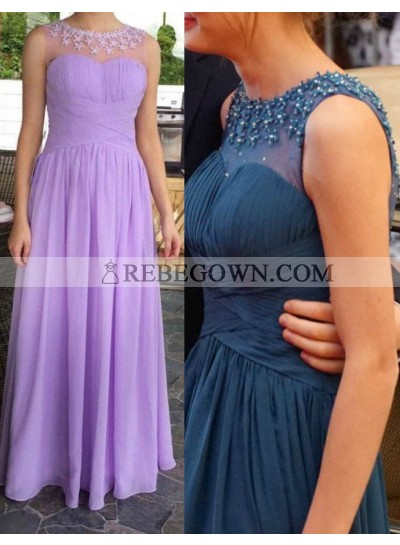 Beading Appliques Long Floor length A-Line Chiffon Lilac Prom Dresses