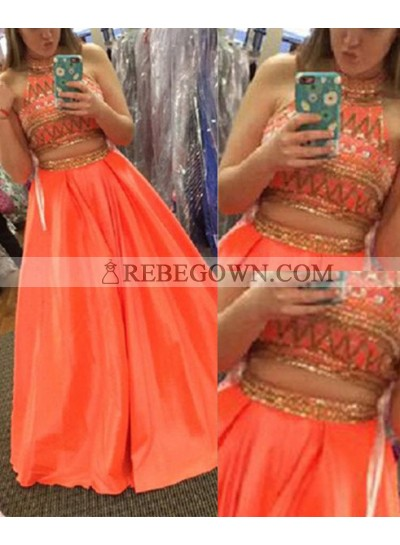 Long Floor length A-Line High Neck Beading Two Pieces Satin Prom Dresses