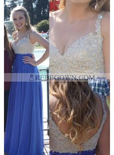 rebe gown 2021 Blue Long Floor length Straps Appliques A-Line Chiffon Prom Dresses