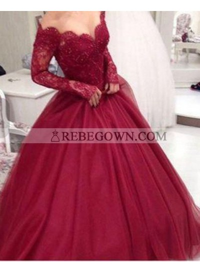 2021 Gorgeous Red A-Line Long Sleeve Natural Lace Long Floor length Tulle Prom Dresses