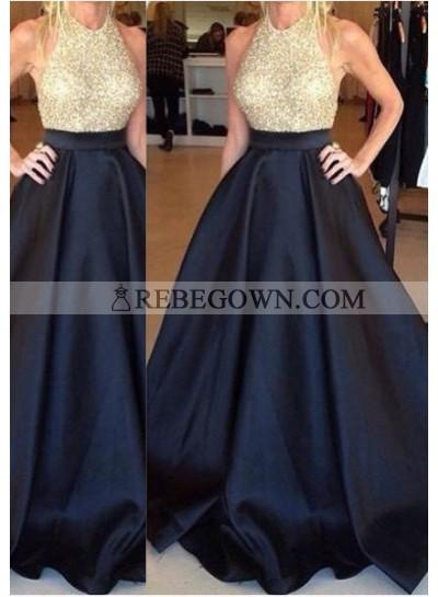 Dark Navy Long Floor length A-Line Long Floor length Taffeta Prom Dresses