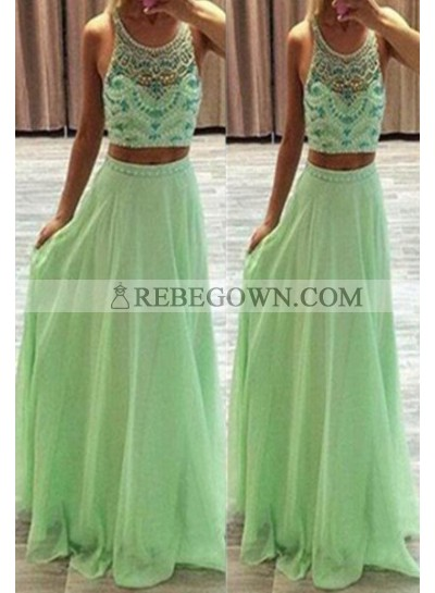Long Floor length A-Line Beading Two Pieces Chiffon Prom Dresses