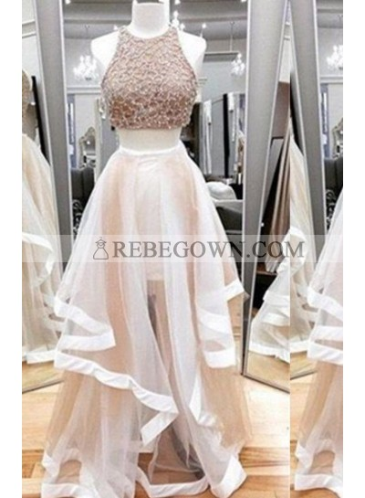 Long Floor length A-Line Sequins Layers Tulle Prom Dresses