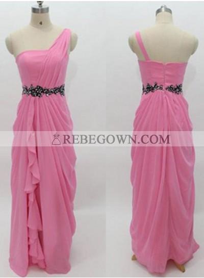 Long Floor length A-Line One Shoulder Chiffon Prom Dresses