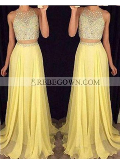 Long Floor length Beading A-Line Two Pieces Chiffon Yellow  Prom Dresses