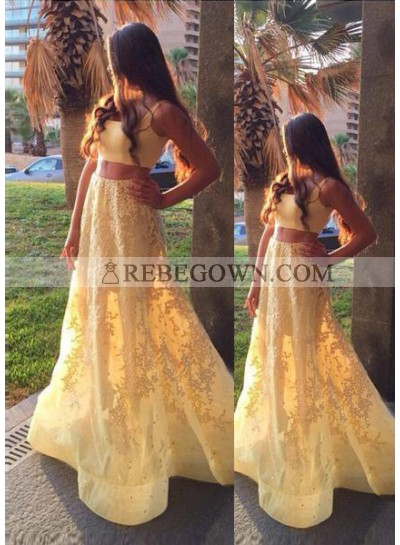 A-Line Sleeveless Natural Appliques Sweep/Brush Train Yellow Prom Dresses