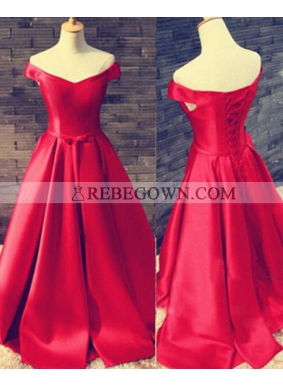 2021 Gorgeous Red Long Floor length A-Line Off-the-Shoulder Lace Up Satin Prom Dresses