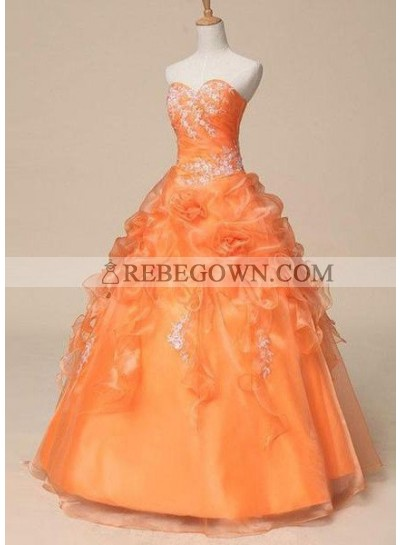 Long Floor length Ball Gown Sweetheart Organza Prom Dresses