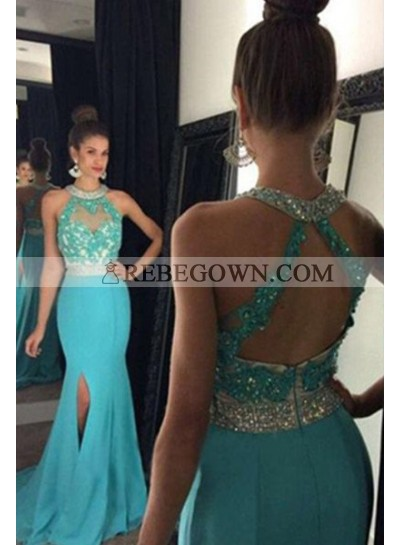 rebe gown 2020 Blue Long Floor length Mermaid Lace Split Front Chiffon Prom Dresses