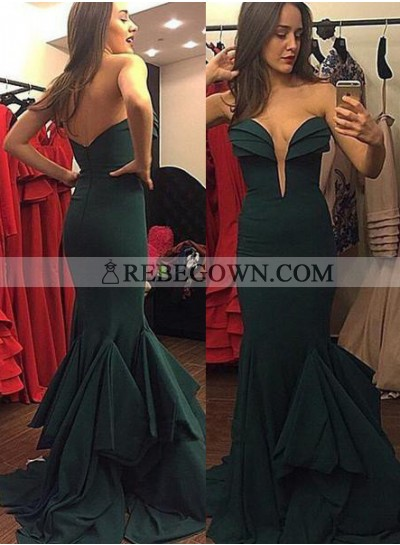 Mermaid Sweetheart Sleeveless Natural Zipper Chiffon Dark Green Prom Dresses