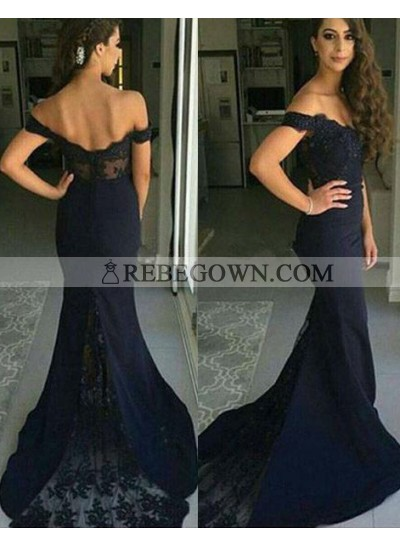 rebe gown 2020 Blue Mermaid Off-the-Shoulder Sleeveless Natural Zipper Lace Prom Dresses