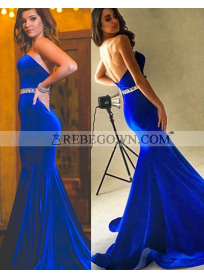 Royal Blue Beading Strapless Mermaid Velevt Prom Dresses