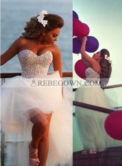 2020 Unique White Long Floor length A-Line Sweetheart Beading Short/Mini Tulle Prom Dresses