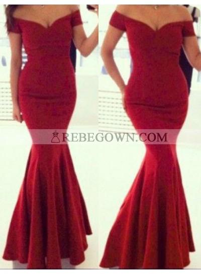 2021 Gorgeous Red Mermaid Off-the-Shoulder Sleeveless Long Floor length Satin Prom Dresses