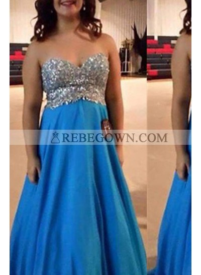 Royal Blue Sweetheart Beading Long Floor length Chiffon Prom Dresses