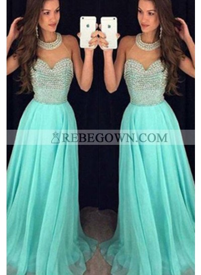 Long Floor length High Neck Beading A-Line Chiffon Prom Dresses