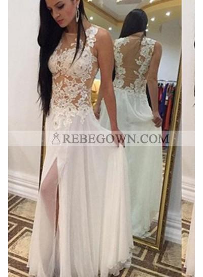 2021 Unique White Long Floor length Column/Sheath Lace Chiffon Prom Dresses