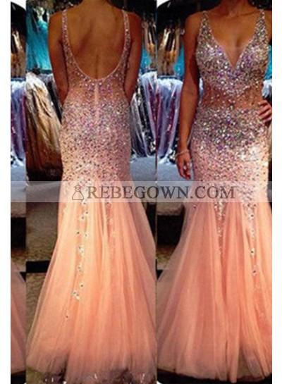Long Floor length Mermaid Straps Tulle 2020 Glamorous Pink Prom Dresses