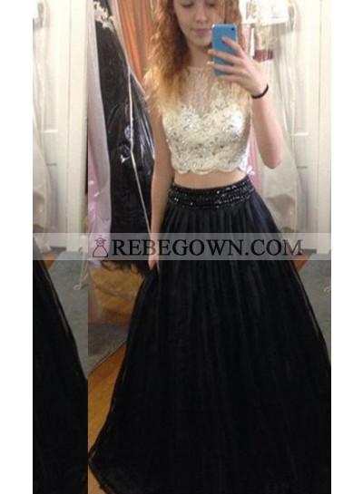 2021 Junoesque Black A-Line Sleeveless Natural Backless Long Floor length Tulle Prom Dresses