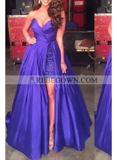 Purple Sweetheart Split Front Sweep Train Satin Prom Dresses