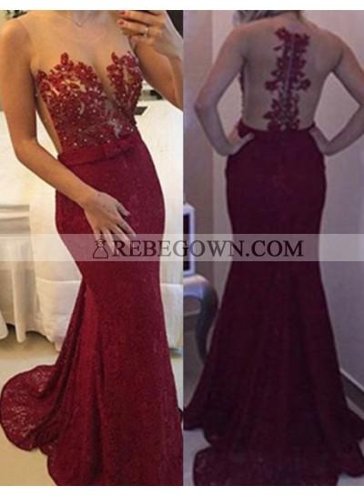 Burgundy Long Floor length Mermaid Lace Prom Dresses