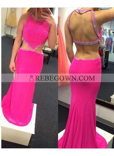 Column/Sheath Sleeveless Natural Backless Prom Dresses