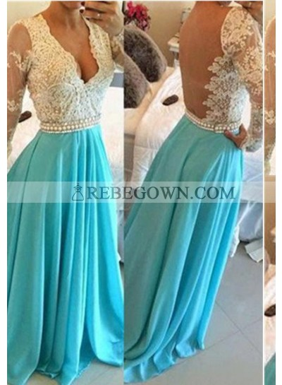 rebe gown 2021 Blue Long Floor length A-Line Beading Long Floor length Chiffon Prom Dresses